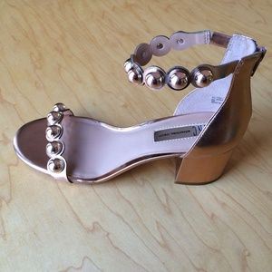 INC Haili Ankle Strap Block Sandals Rose Gold 8